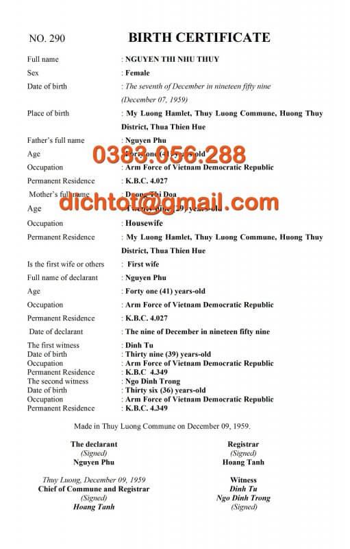 Mẫu Dịch Thuật Giấy Khai Sinh Tiếng Anh, Trung, Nhật, Hàn, Đức, Nga 1