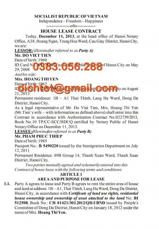 Mẫu Dịch Thuật Hợp Đồng Thuê Nhà Tiếng Anh, Trung, Nhật, Hàn, Đức, Nga 1