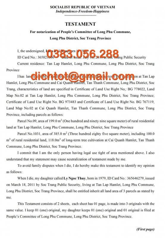 Mẫu Dịch Thuật Di Chúc Tiếng Anh, Trung, Nhật, Hàn, Đức, Nga 1